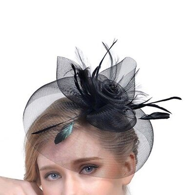 Wedding Races Party Fascinator Veil Net Hat with Cones and Feathers Hatinator