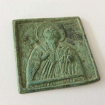 "TRAVELING CHRISTIAN RELIGIOUS ICON NIKOLA 2 3/4"" by 2 1/2"""