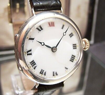 1915 Antique Vintage Rolex Solid Silver Trench Watch Ww1 5 X Signed Serviced