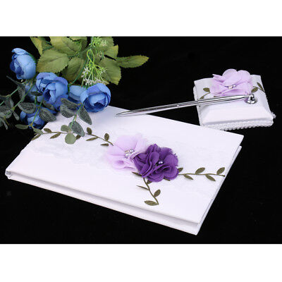 Wedding Purple Floral Guest Book Signature Book Party Decorations Supply