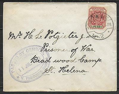 Orange Free State covers 1901 Boer War censored Pof Warcover to Camp St Helena