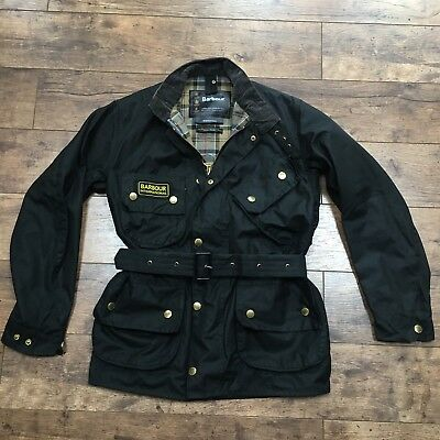 Men's Barbour A7 International Black Wax Belted Biker Jacket Chest 36 Ex Con!