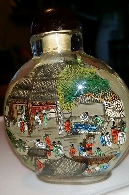 Vintage Chinese ReverseHand Painted Glass Snuff Bottle glass bridge market