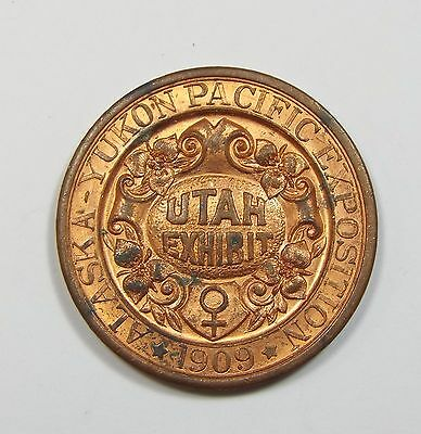 BARGAIN 1909 Alaska Yukon Pacific Expo UTAH Copper So-Called Dollar HK-359 BU