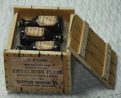 Dollhouse miniature 1/12th scale crate of Embalming fluid 1/12th scale