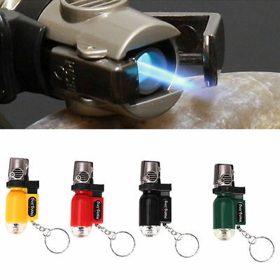 Butane Gas Trip Torch Jet Flame Cigarette Lighter Windproof Refillable Key Ring