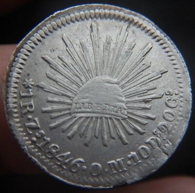 Mexico  1 Real 1846 Zs OM ZACATECAS, KM#372.10 XF+ CONDITION