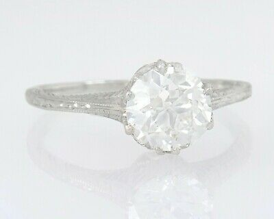 Antique GIA Certified 1.11ct Diamond 14K White Gold Art Deco Engagement Ring