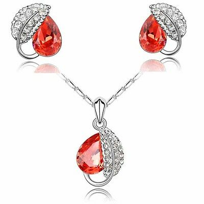Red Crystal Leaves Jewellery Set Stud Earrings Pendant Necklace Gift Women F24S