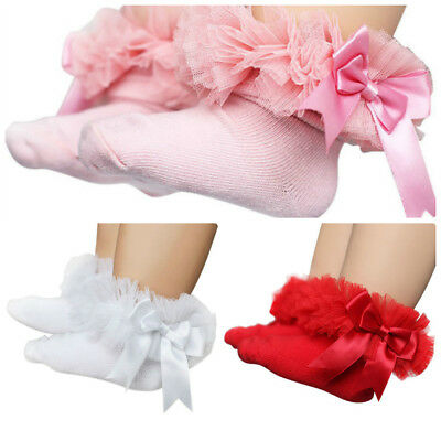 Baby Girls Princess  Sock Lace Ruffle Frilly Trim Cotton Ankle Socks 6-12 months