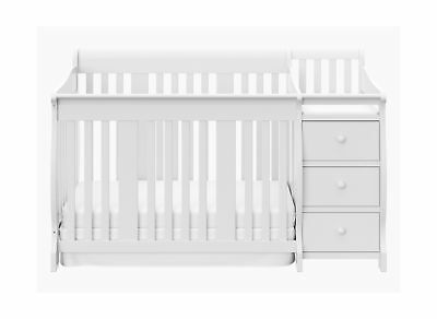 Storkcraft Portofino 4 in 1 Fixed Side Convertible Crib Changer, White, Easil...