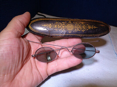 Antique Wire Rim Tinted Eye Glasses & Case