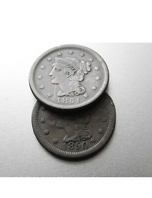1850 & 1851 (two) UNITED STATES OF AMERICA  LARGE COPPER ONE CENTS 1c PENNIES