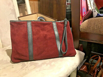 Vintage RONAY leather and suede clutch, beautiful wine color
