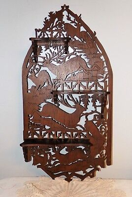 Vintage Hand Carved Wood Wall shelf Silhouette Deer cut out 1920 - 1930