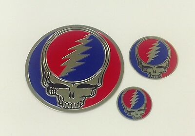 Set Of 3 Gold Metalic Grateful Dead Sticker Decal Bumpersticker Steal Your Face