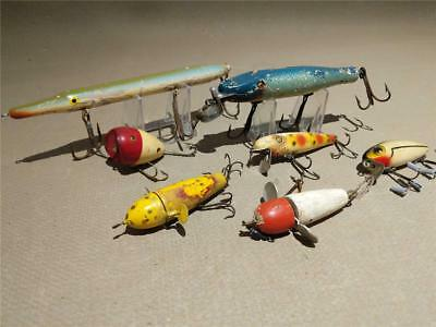 VINTAGE OLD FISHING LURE starter collection WOODEN ccb BAIT box lot mixed plugs