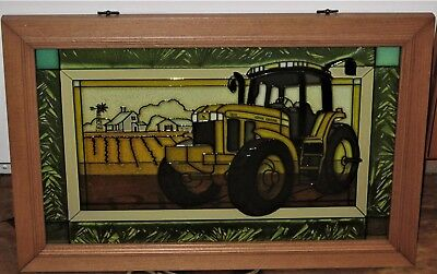 John Deere Tractor 7810 Theme Stained Art Glass Wall Hanging Framed Panel