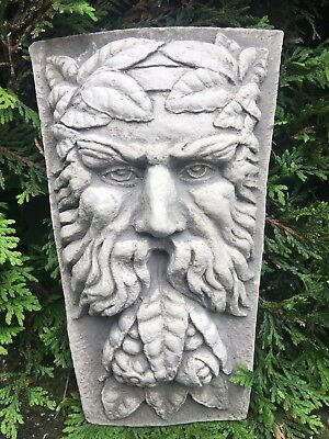 Antique Classical Style Green Man Wall Plaque Corbel Shelf Bracket Cast Concrete