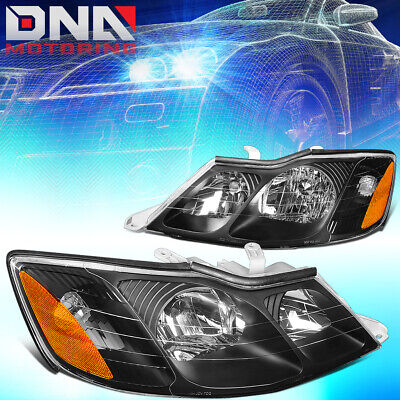 For 2000-2004 Toyota Avalon Pair Black Housing Amber Side Driving Headlight/lamp