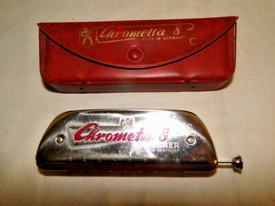 Vintage Hohner Chrometta 8 Harmonica with Original Case - Made In Germany Key C