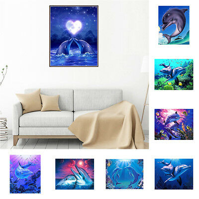 CO_ 5D DIY Diamond Painting Dolphin Cross Stitch Embroidery Home Decor Craft Exo