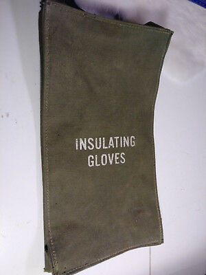 Vintage Lineman Insulated Military Green Gloves Canvas zippered BAG ONLY