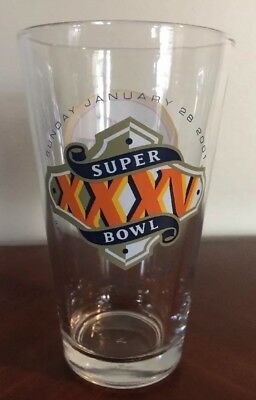 SUPER BOWL XXXV 35 MILLER LITE BEER Glass Pint Vtg Baltimore Ravens NY Giants