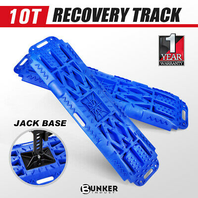 Pair 10T Recovery Tracks with Jack Base Sand Mud Snow Trax 4x4 Offroad Blue