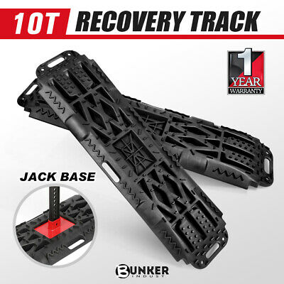 Pair 10T Recovery Tracks with Jack Base Sand Snow Mud Trax Offroad 4x4 Black
