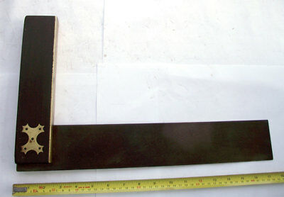 """Vintage 15"""" inch carpenters square rosewood steel and brass"""