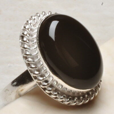 Natural Black Onyx Gemstone 925 Sterling Silver Plated Ring Sz 8