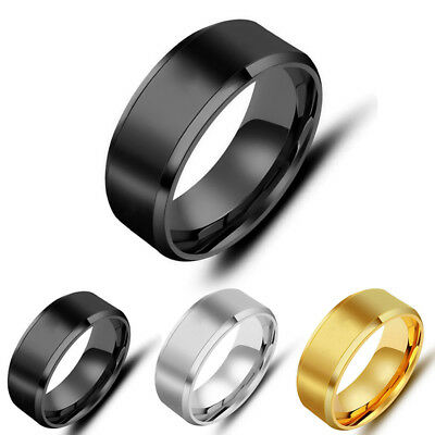 Men Titanium Stainless Steel Ring Promise Engagement Wedding Ring Size Band 6~13