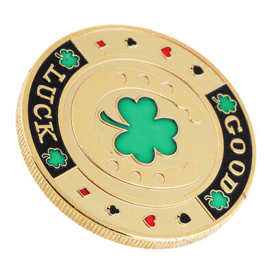 Four Leaf Clover Commemorative Coin Toy with Round Box Metal Chip Coin Toys