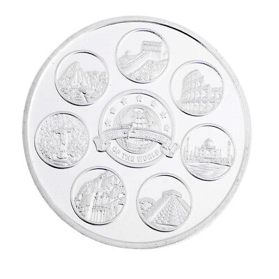 Silver Plated New Seven Wonders of the World Commemorative Coin Model Toys