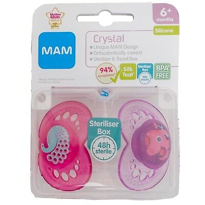 Mam Crystal Soother Twin Pack 6m+ (Peacock/Elephant) (2905)
