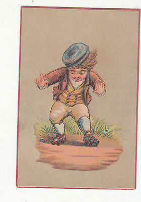 Boy in Knickers on Roller Skates No Advertising Vict Card  c1880s