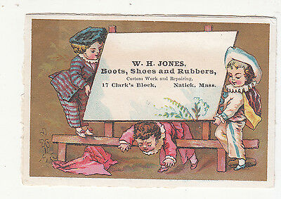 W H Jones Boots Shoes Ro=ubbers Natick Mass Easel  Vict Card c 1880s