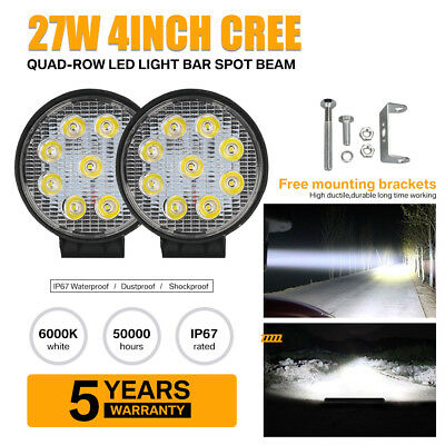 2 x 4Inch 27W Cree LED Work Light Bar Spot Beam Offroad ATV FOG Truch Lamp 4WD