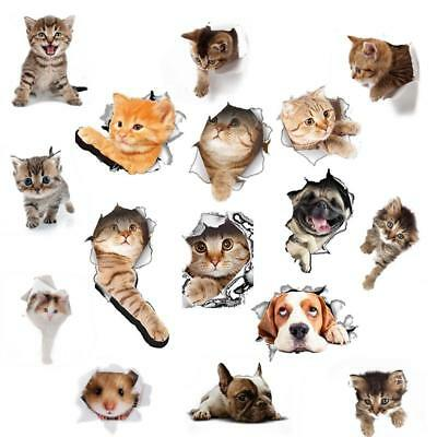 Cute 3D Animals Cat Toilet Stickers Refrigerator Posters Wall Sticker HF AU #61