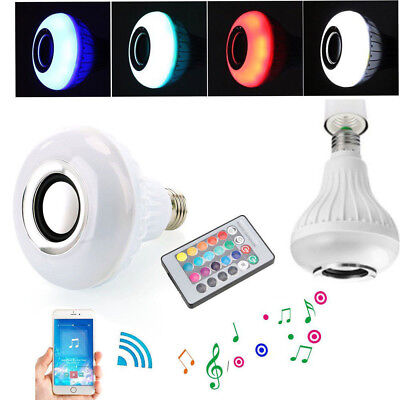 US Bulb Speaker Bluetooth LED Light Music RGB Color Wireless E27 Remote 12W Lamp