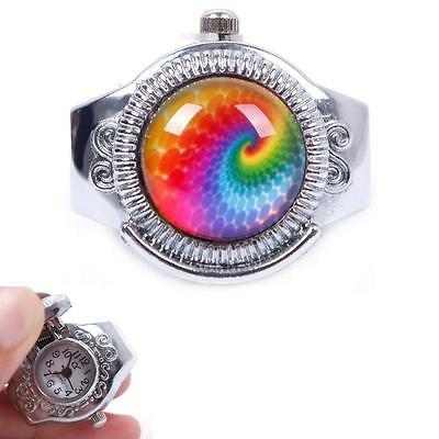 Round Child Lady Steel Rainbow Pattern Elastic Quartz Finger Ring Watch HF AU