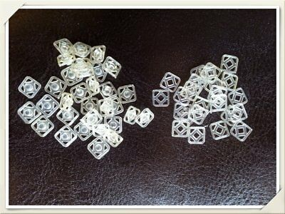 40 pairs of 7mm Clear Nylon Invisible Square Snap Fastener Press Stud Popper