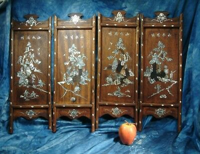 Antique Mahogany  Chinese screen panels inlaid mother of pearl .