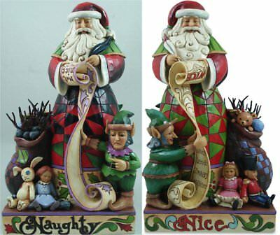 Jim Shore Santa Claus Naughty or Nice 2 Sided Christmas Figurine 4027709 HWC New