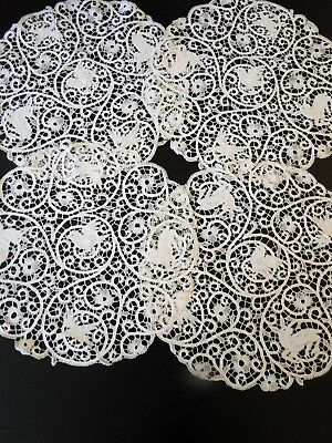 Antique Lace- Lovely Cantu Lace Round Placemats W/birds,,deer
