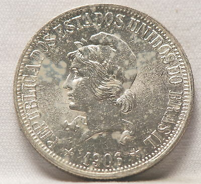 Brazil, 1906 1000 Reis, silver, Uncirculated, SCARCE, No Reserve,          mab10