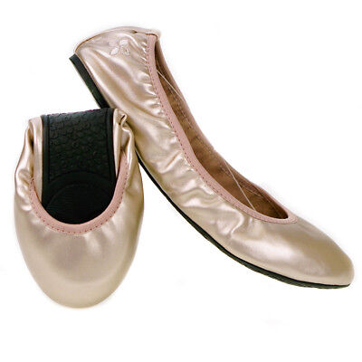 754067712dcb79 Butterfly Twists Sophia Fold Up Ballerina Shoes Rose Gold - Various Sizes
