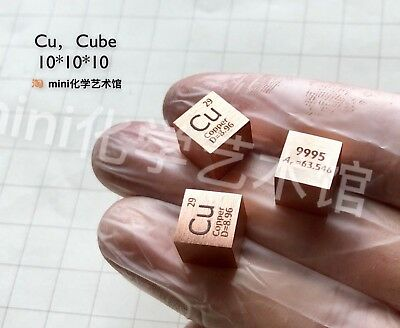 1 Piece 99.95% High Purity Copper Cu 10mm Cube Carved Element Periodic Table