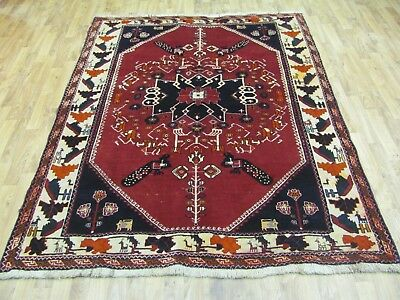 AN EXCELLENT OLD HANDMADE QASHQAI WOOL ON WOOL PERSIAN RUG (210 X 150 cm)
